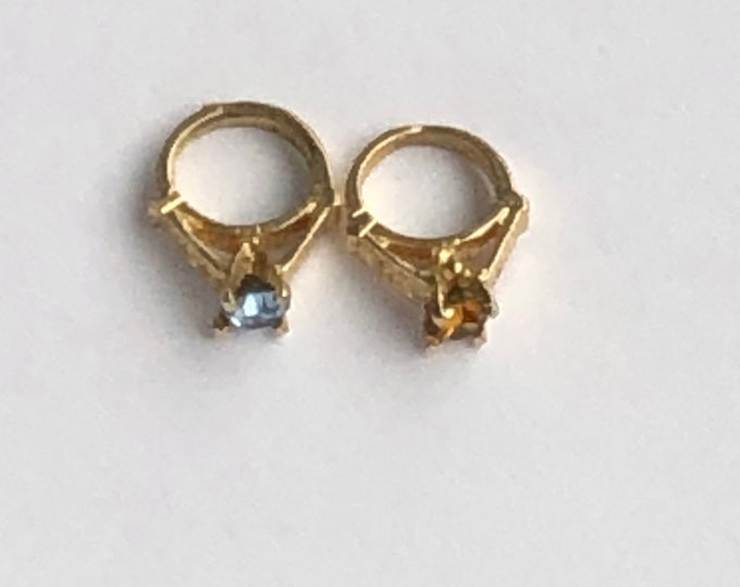 14K Mini Ring Charm for Necklace Add On Teeny Tiny Vintage Birthstone Your Choice