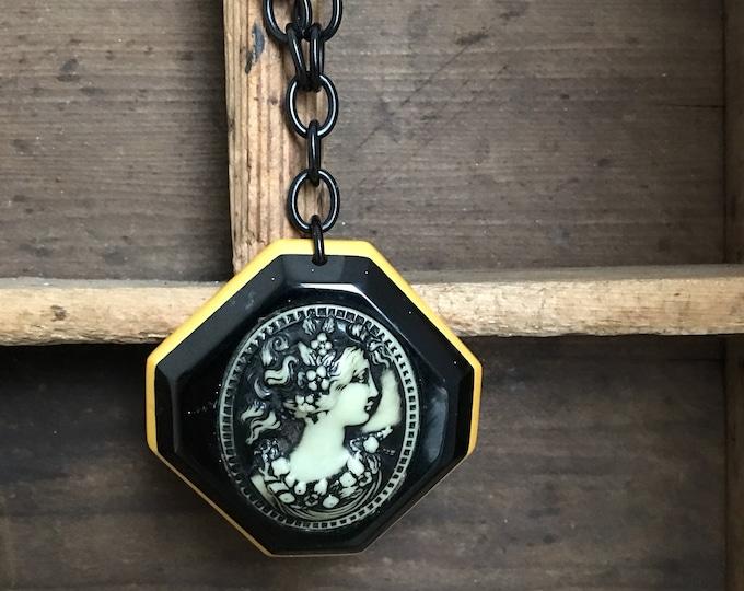 Bakelite Cameo Necklace Vintage Celluloid Link Chain Huge Pendant