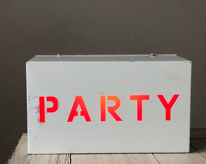 Party Sign Lighted Red & White Man Cave Frat Dorm College Bar Pub Portable
