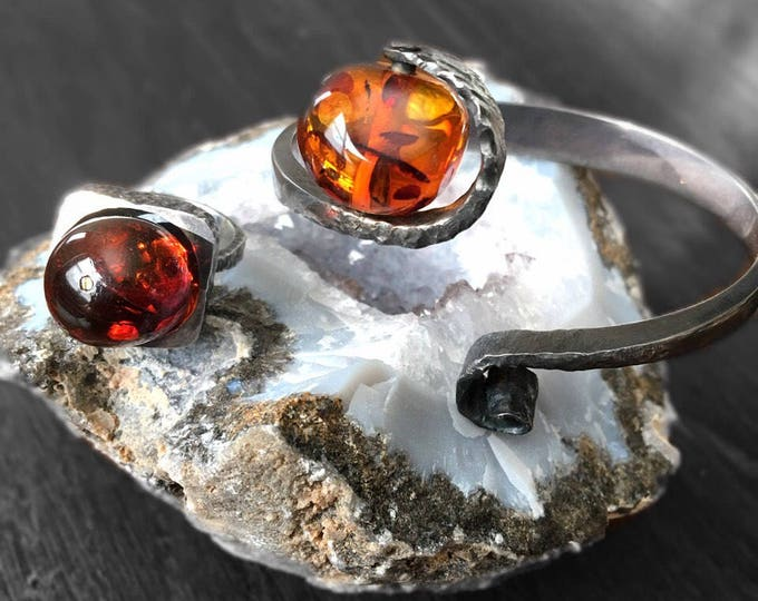Amber & Sterling Silver Ring, Bracelet Modernist Bold Artisan Jewelry 2 pc Set