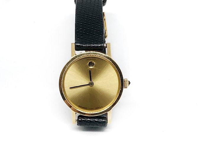 14k Solid Gold Movado Watch Women Wristwatch Leather Strap Quartz Museum Dial