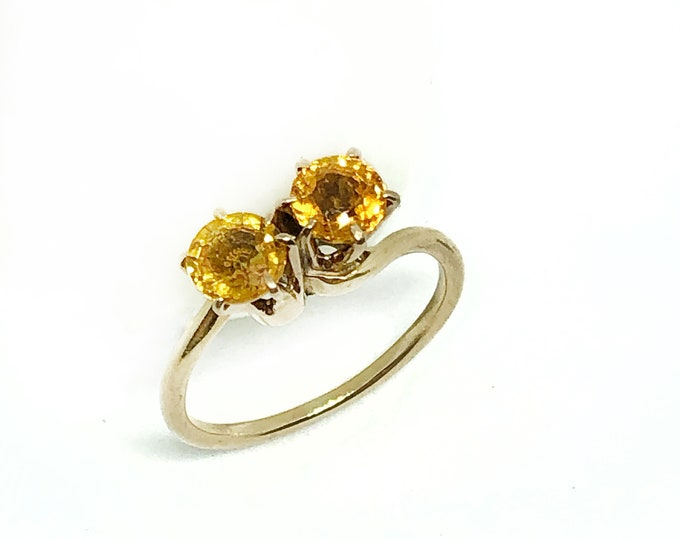 Vintage 14K Gold Citrine Toi Et Moi Bypass Ring Fine Jewelry Size 4 1/2