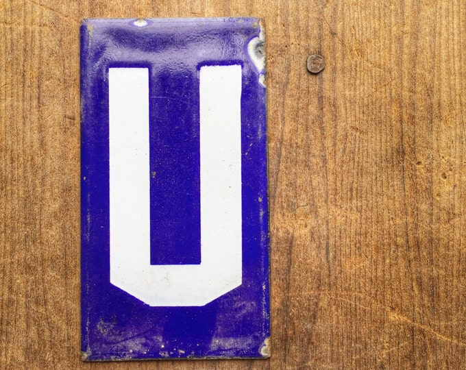Antique Enamel Letter U Vintage Porcelain Sign Cobalt Blue