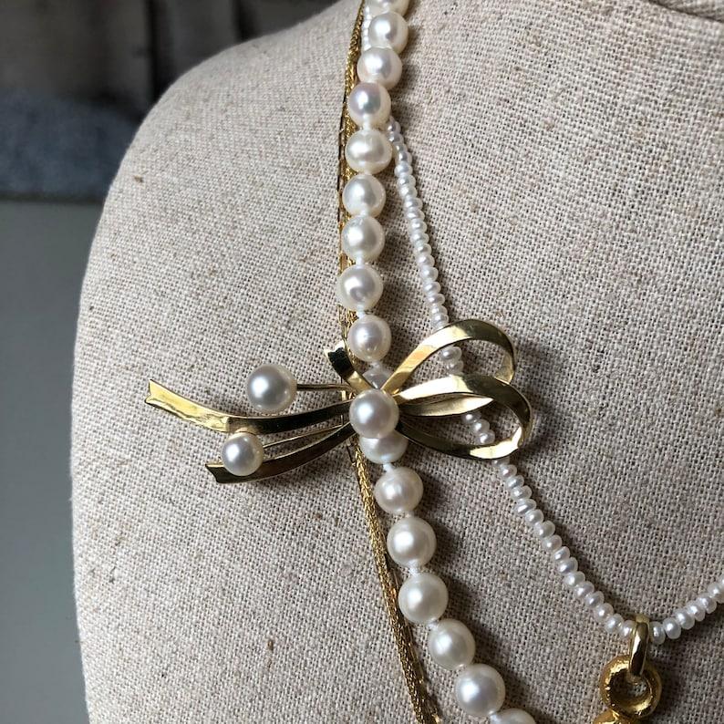 14k Gold Bow Pin Pearl Brooch