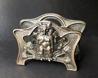 Antique Owl Letter Holder Brass Color Office Desk Kitchen Napkins