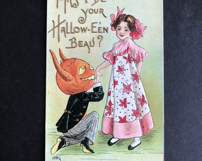Vintage Halloween Postcard HBG May I Be Your Hallow-E'en Beau? Post Card Ephemera