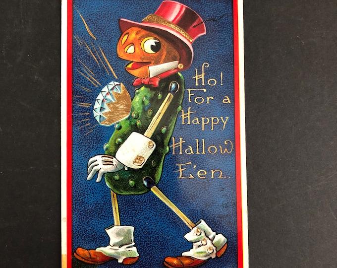 Anthropomorphic Pickle Man Vintage Halloween Postcard Post Card Diamond Jim Brady Ephemera