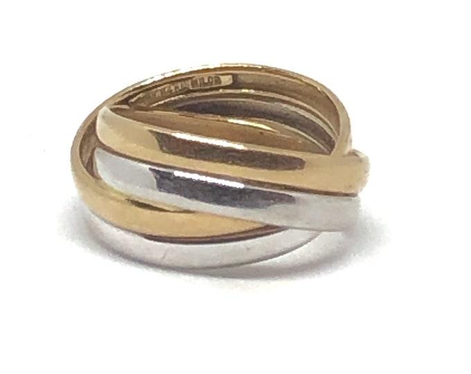 Vintage 14k Gold Ring Milor Italy Two Tone Woven Bands Size 9