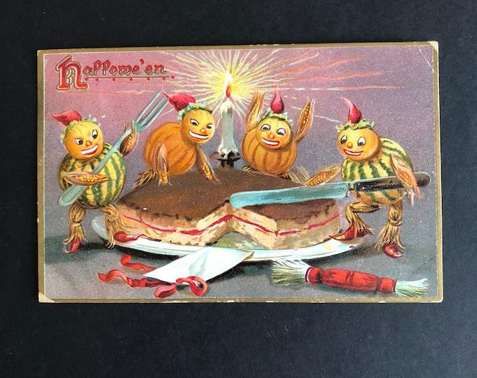 Vintage Halloween Postcard Pumpkin Goblins Cutting Cake Post Card Ephemera