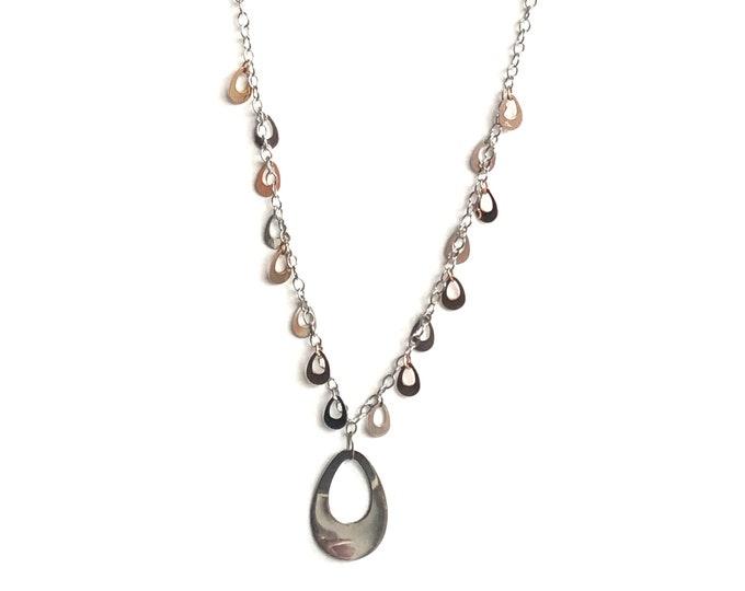 14K White & Rose Gold Teardrops Dangles Necklace Vintage Bicolor