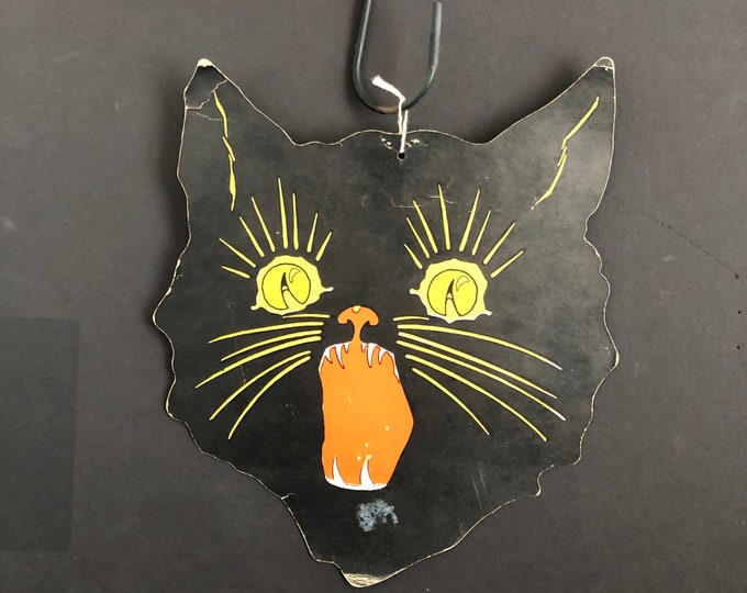 Vintage Halloween Die Cut Black Cat Head Party Decoration Hissing Feline
