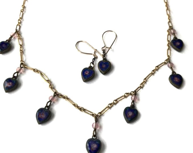 Lucy Isaacs NYC Necklace & Earrings Vintage Enamel Charm Jewelry Set