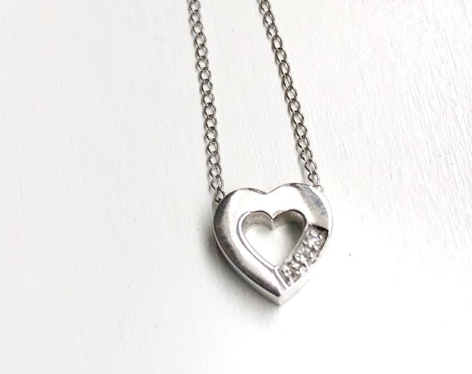 Sweet 14k White Gold Diamond Heart Pendant Chain Vintage Sparkling Love