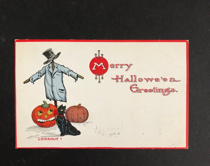 Vintage Merry Halloween Postcard Scarecrow Lookout Gibson Post Card