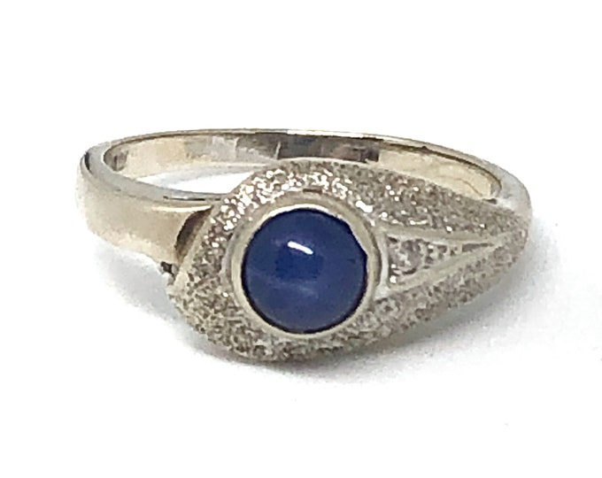 Vintage 10k White Gold Linde Star Sapphire Snake Ring with Diamond Accent Size 6 1/4