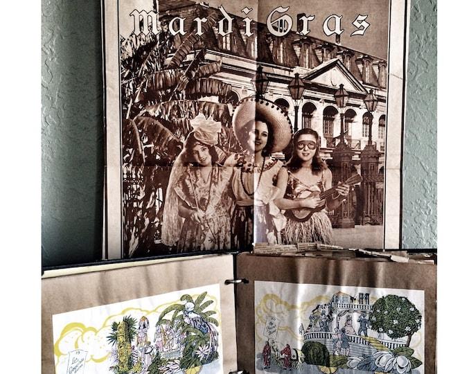 Mardi Gras Scrapbook 1931 Vintage Ephemera Flapper Poster New Orleans