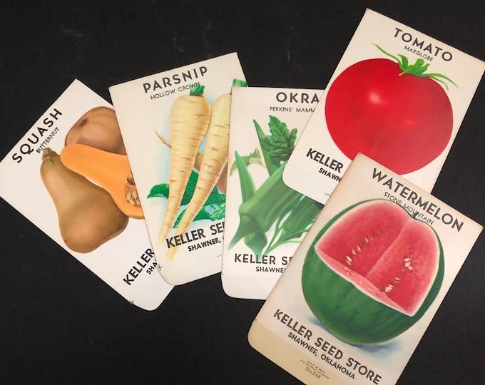 Seed Packet Envelopes Vintage Instant Collection Keller Seed Store Shawnee, OK