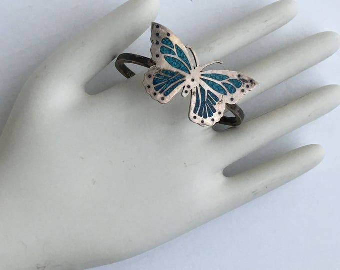Sterling Silver & Turquoise Butterfly Bracelet Mexico Southwestern Style