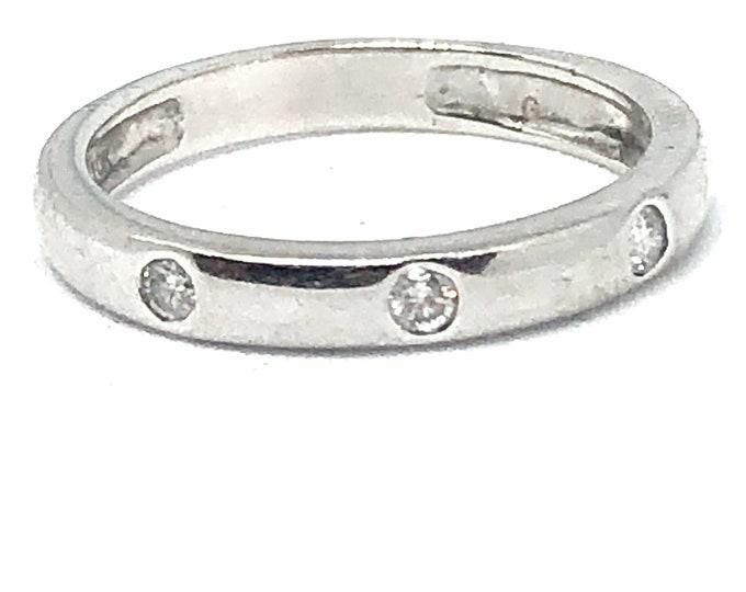 10k White Gold Diamond Stacking Ring Wedding Band Anniversary