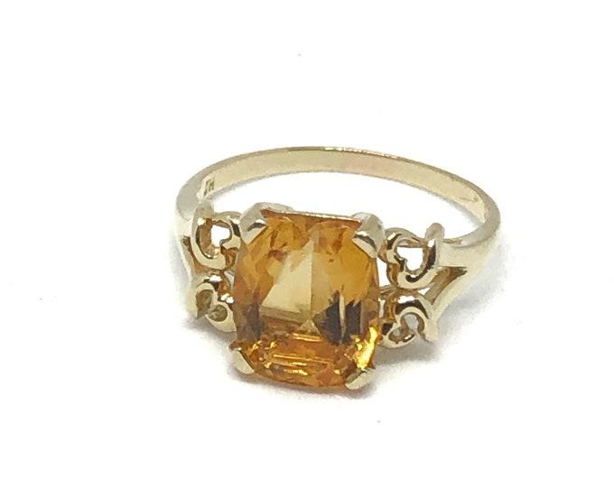 Vintage 14K Gold Citrine Ring Fine Jewelry Size 9 1/2