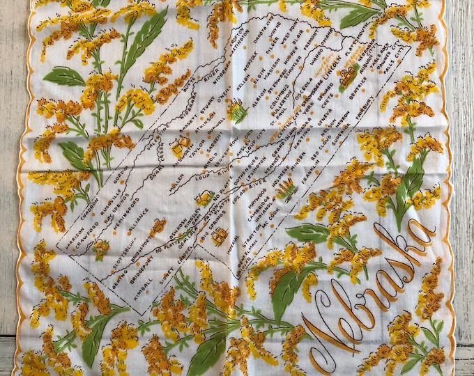 Nebraska Map Handkerchief Vintage Souvenir Hankie