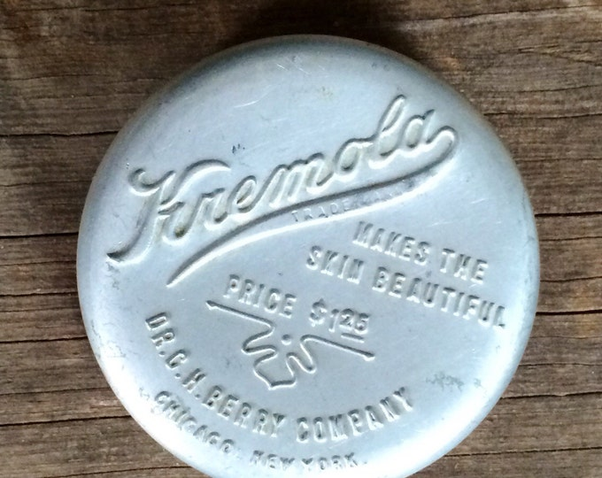 Vintage Kremola Tin Antique Aluminum Embossed Vanity Table Cosmetic