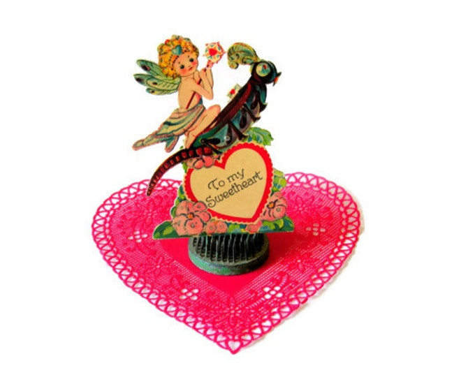 Vintage Mechanical Valentine Fairy on Rocking Grasshopper Valentine's Day Ephemera