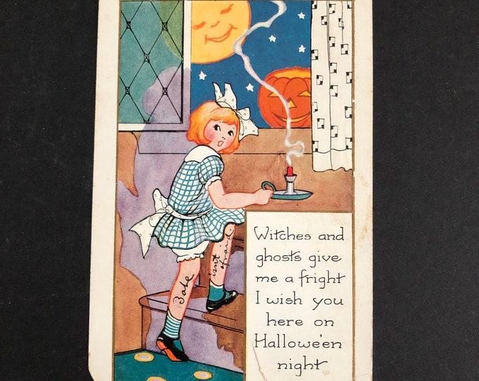 Babe Isn't Afraid Vintage Halloween Postcard Post Card Ephemera