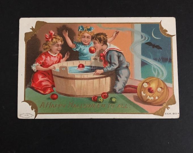 Halloween Postcard Apple Bobbing Antique Post Card Happy Hallowe'en