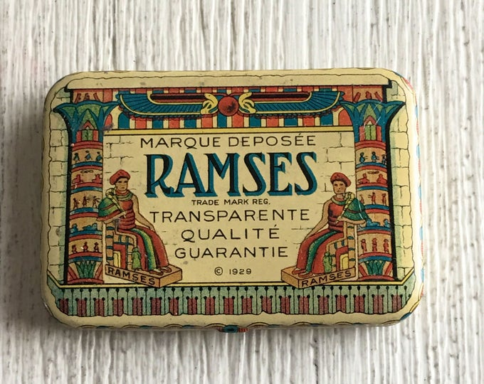 Condom Tin Ramses Flapper Era Egyptian Motif Vintage Prophylactic Container with Inner Envelopes