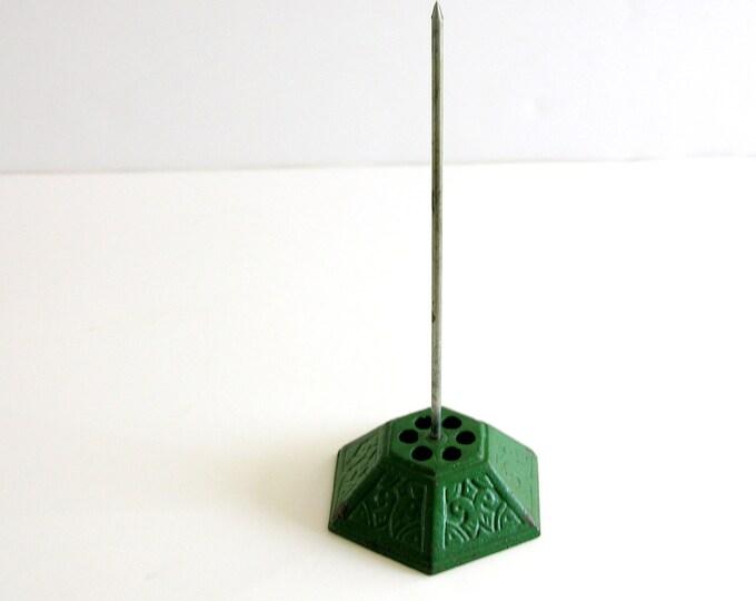 Green Vintage Paper Spindle Paperwork Organization Office Desk Display Metal Spike