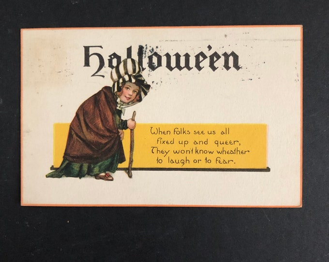 Fixed Up & Queer Vintage Halloween Witch Postcard Post Card