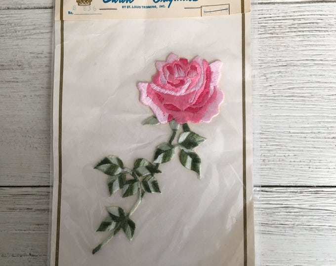 Embroidered Pink Rose Sew-On Appliqué Trim NOS