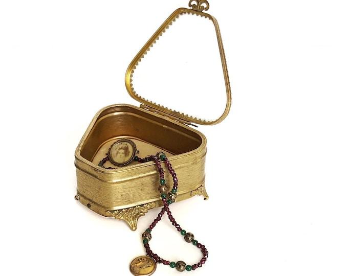 Gilt Ormolu Jewelry Casket Golden Antique Trinket Box Beveled Glass