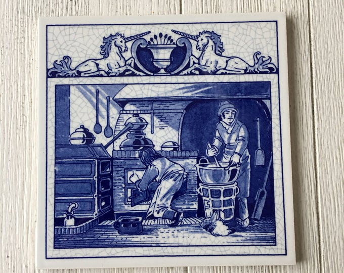 Pharmacist's Laboratory Vintage Delft Tile Apothecary