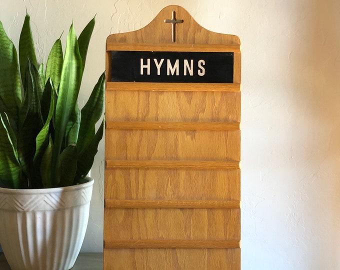 Antique Church Register Board Vintage Hymns Wood Photo Display Showcase