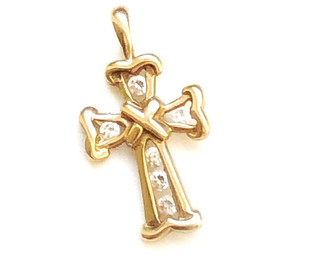 10K Gold Cross Charm Faux Diamond Pendant CZ Vintage Fine Jewelry