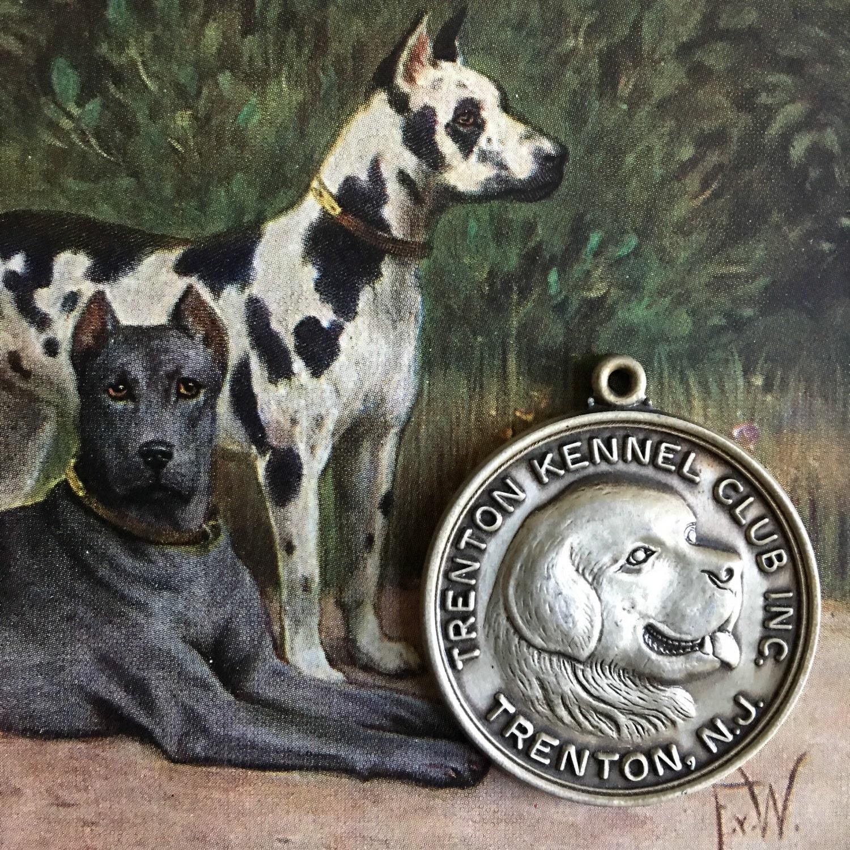 Dog Show Medal Silver Medallion Trenton Kennel Club Vintage