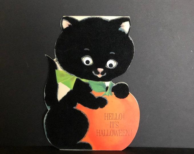 Vintage Hallmark Halloween Card Big Black Cat Googly Wiggle Eyes