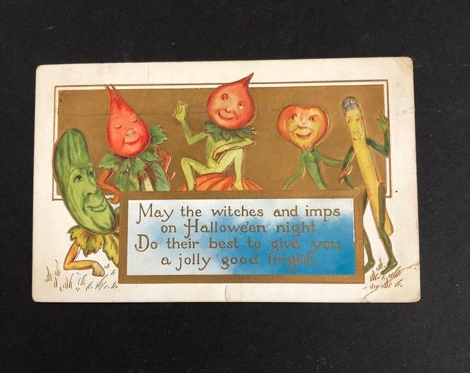 Anthropomorphic Veggies Vintage Halloween Postcard Post Card