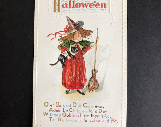 Vintage Halloween Postcard Witch Broom Black Cat Familiar Nash Post Card Ephemera