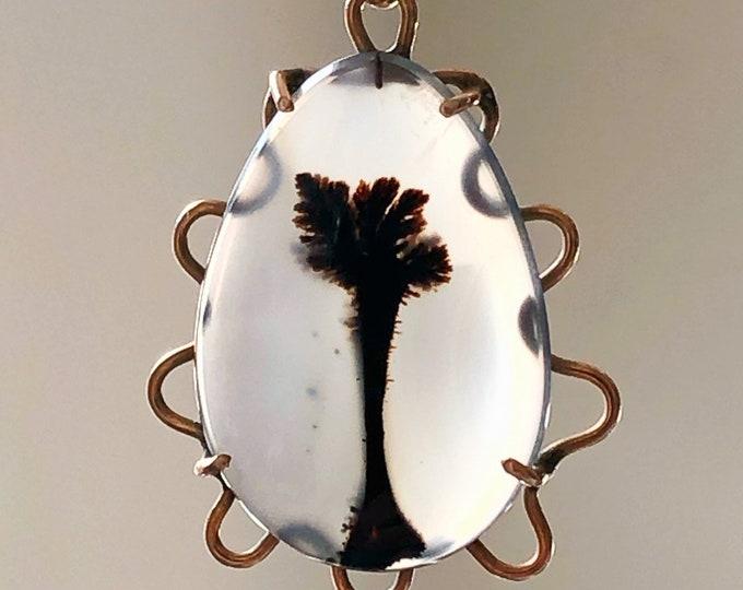 Dendritic Agate 10k Gold Pendant Antique Charm