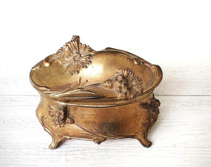 Antique Gilt Ormolu Jewelry Casket Vintage Golden Art Nouveau Floral Design Trinket Box
