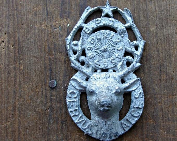 Cemetery Grave Marker Metal Elk Vintage Memento Mori Woodland Sculpture