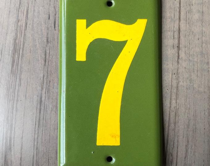 Lucky Number 7 Enamel Sign Vintage Porcelain Green Gold
