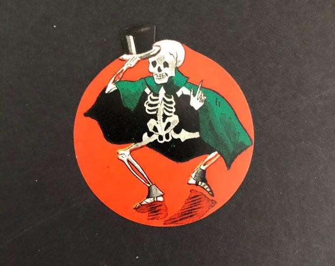Black Halloween Skeleton Vintage Sticker Gummed Seal Top Hat Cape