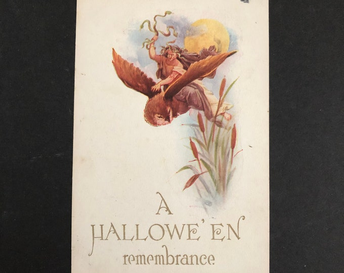 Medusa Riding Owl Vintage Halloween Postcard Gibson Post Card