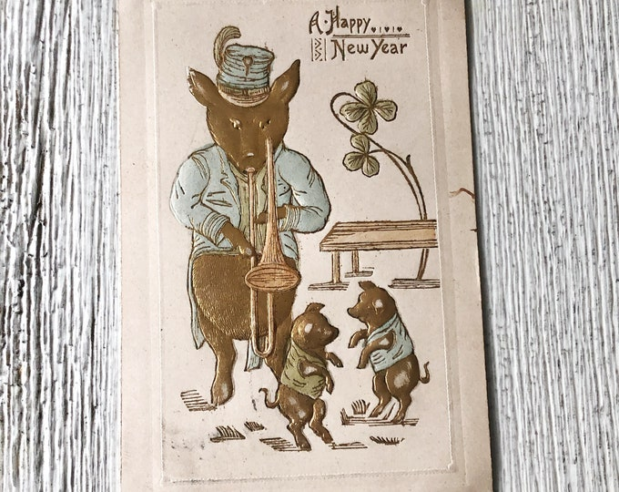 Happy New Year Antique Postcard Musical Pig Playing Trombone