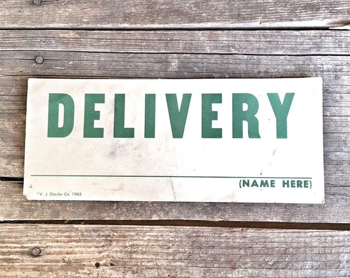 Sign Car Stalled Delivery Vintage Signage Two-sided