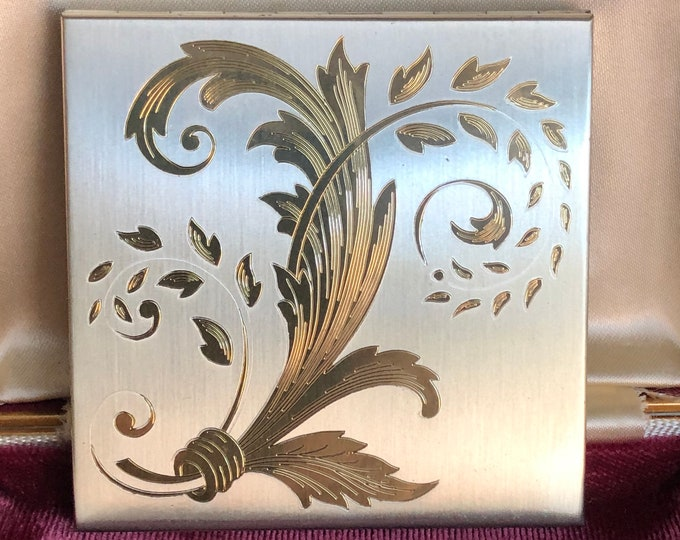 Sterling Silver Elgin Compact Vintage Art Deco Powder Unused